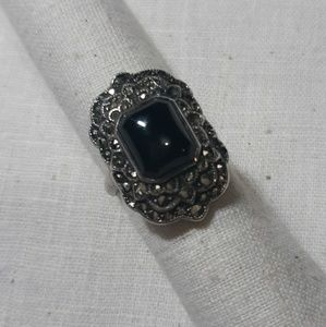 Vintage sterling, marcasite and onyx ring